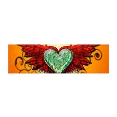 Beautiful Heart Made Of Diamond With Wings And Floral Elements Satin Scarf (Oblong)
