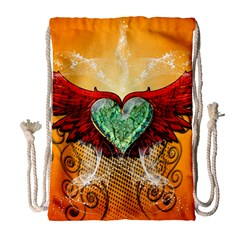 Beautiful Heart Made Of Diamond With Wings And Floral Elements Drawstring Bag (Large)
