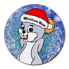 Funny Cute Christmas Mouse With Christmas Tree And Snowflakses Round Mousepads