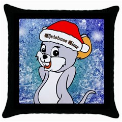 Funny Cute Christmas Mouse With Christmas Tree And Snowflakses Throw Pillow Cases (Black)
