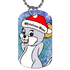 Funny Cute Christmas Mouse With Christmas Tree And Snowflakses Dog Tag (One Side)