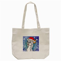 Funny Cute Christmas Mouse With Christmas Tree And Snowflakses Tote Bag (cream)