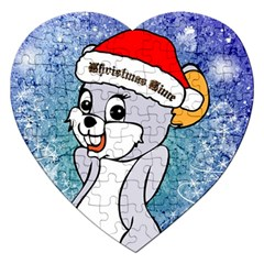 Funny Cute Christmas Mouse With Christmas Tree And Snowflakses Jigsaw Puzzle (Heart)