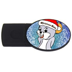 Funny Cute Christmas Mouse With Christmas Tree And Snowflakses USB Flash Drive Oval (4 GB)