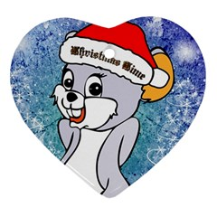 Funny Cute Christmas Mouse With Christmas Tree And Snowflakses Heart Ornament (2 Sides)