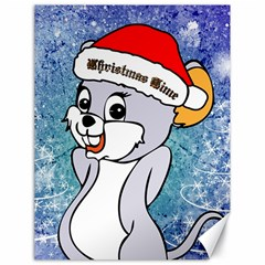 Funny Cute Christmas Mouse With Christmas Tree And Snowflakses Canvas 18  x 24