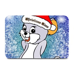 Funny Cute Christmas Mouse With Christmas Tree And Snowflakses Plate Mats