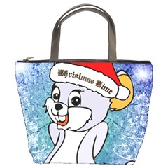Funny Cute Christmas Mouse With Christmas Tree And Snowflakses Bucket Bags