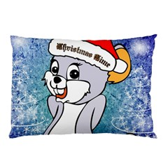 Funny Cute Christmas Mouse With Christmas Tree And Snowflakses Pillow Cases