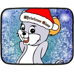 Funny Cute Christmas Mouse With Christmas Tree And Snowflakses Fleece Blanket (mini)