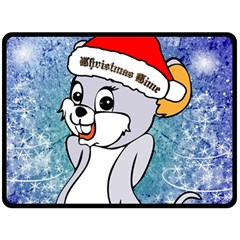Funny Cute Christmas Mouse With Christmas Tree And Snowflakses Fleece Blanket (large)