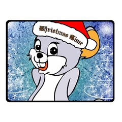 Funny Cute Christmas Mouse With Christmas Tree And Snowflakses Fleece Blanket (Small)
