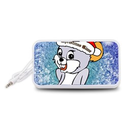 Funny Cute Christmas Mouse With Christmas Tree And Snowflakses Portable Speaker (White)