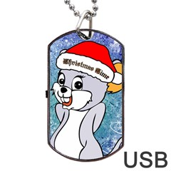 Funny Cute Christmas Mouse With Christmas Tree And Snowflakses Dog Tag Usb Flash (one Side)