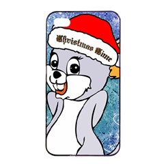 Funny Cute Christmas Mouse With Christmas Tree And Snowflakses Apple iPhone 4/4s Seamless Case (Black)