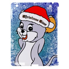Funny Cute Christmas Mouse With Christmas Tree And Snowflakses Apple iPad 3/4 Hardshell Case (Compatible with Smart Cover)