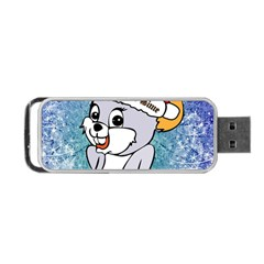 Funny Cute Christmas Mouse With Christmas Tree And Snowflakses Portable USB Flash (One Side)