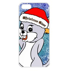 Funny Cute Christmas Mouse With Christmas Tree And Snowflakses Apple iPhone 5 Seamless Case (White)