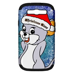 Funny Cute Christmas Mouse With Christmas Tree And Snowflakses Samsung Galaxy S III Hardshell Case (PC+Silicone)