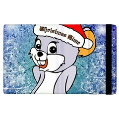 Funny Cute Christmas Mouse With Christmas Tree And Snowflakses Apple iPad 2 Flip Case