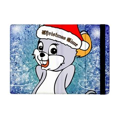 Funny Cute Christmas Mouse With Christmas Tree And Snowflakses Apple iPad Mini Flip Case