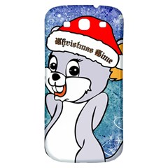 Funny Cute Christmas Mouse With Christmas Tree And Snowflakses Samsung Galaxy S3 S III Classic Hardshell Back Case