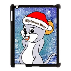 Funny Cute Christmas Mouse With Christmas Tree And Snowflakses Apple iPad 3/4 Case (Black)