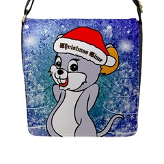 Funny Cute Christmas Mouse With Christmas Tree And Snowflakses Flap Messenger Bag (L)