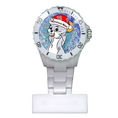 Funny Cute Christmas Mouse With Christmas Tree And Snowflakses Nurses Watches