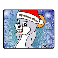 Funny Cute Christmas Mouse With Christmas Tree And Snowflakses Double Sided Fleece Blanket (small)