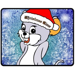 Funny Cute Christmas Mouse With Christmas Tree And Snowflakses Double Sided Fleece Blanket (Medium)
