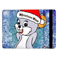 Funny Cute Christmas Mouse With Christmas Tree And Snowflakses Samsung Galaxy Tab Pro 12.2  Flip Case