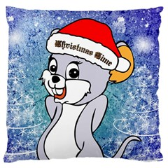 Funny Cute Christmas Mouse With Christmas Tree And Snowflakses Large Flano Cushion Cases (One Side)