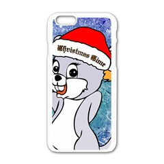 Funny Cute Christmas Mouse With Christmas Tree And Snowflakses Apple iPhone 6/6S White Enamel Case