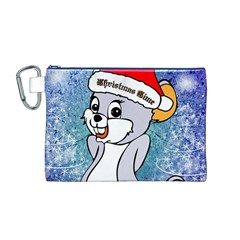 Funny Cute Christmas Mouse With Christmas Tree And Snowflakses Canvas Cosmetic Bag (M)