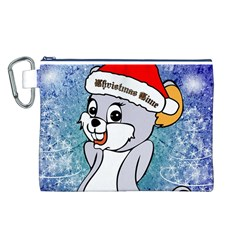 Funny Cute Christmas Mouse With Christmas Tree And Snowflakses Canvas Cosmetic Bag (L)