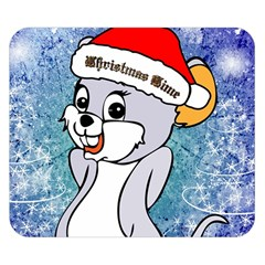Funny Cute Christmas Mouse With Christmas Tree And Snowflakses Double Sided Flano Blanket (small)