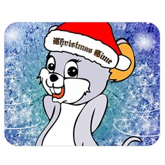 Funny Cute Christmas Mouse With Christmas Tree And Snowflakses Double Sided Flano Blanket (medium)