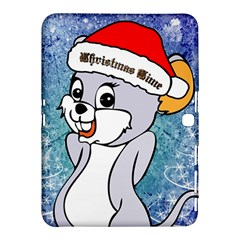 Funny Cute Christmas Mouse With Christmas Tree And Snowflakses Samsung Galaxy Tab 4 (10.1 ) Hardshell Case