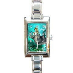 Beautiful Mermaid With  Dolphin With Bubbles And Water Splash Rectangle Italian Charm Watches
