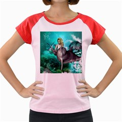Beautiful Mermaid With  Dolphin With Bubbles And Water Splash Women s Cap Sleeve T-Shirt