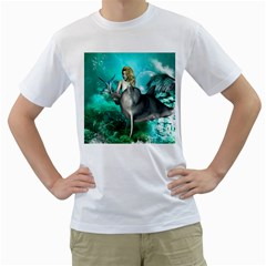 Beautiful Mermaid With  Dolphin With Bubbles And Water Splash Men s T-Shirt (White) (Two Sided)