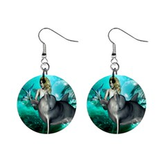 Beautiful Mermaid With  Dolphin With Bubbles And Water Splash Mini Button Earrings