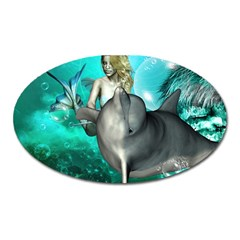 Beautiful Mermaid With  Dolphin With Bubbles And Water Splash Oval Magnet