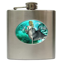 Beautiful Mermaid With  Dolphin With Bubbles And Water Splash Hip Flask (6 oz)