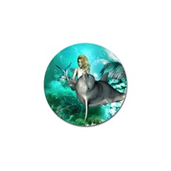 Beautiful Mermaid With  Dolphin With Bubbles And Water Splash Golf Ball Marker (10 pack)