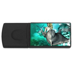 Beautiful Mermaid With  Dolphin With Bubbles And Water Splash USB Flash Drive Rectangular (2 GB)