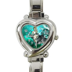 Beautiful Mermaid With  Dolphin With Bubbles And Water Splash Heart Italian Charm Watch
