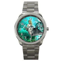 Beautiful Mermaid With  Dolphin With Bubbles And Water Splash Sport Metal Watches