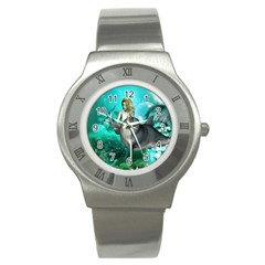Beautiful Mermaid With  Dolphin With Bubbles And Water Splash Stainless Steel Watches
